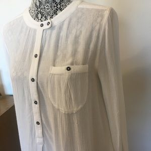 FREE PEOPLE gauzy blouse high low hem